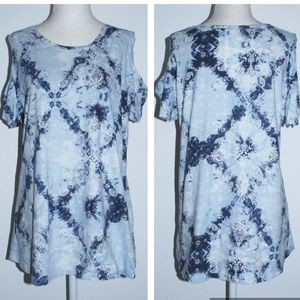 Style and Co Tie Dye Print Cold Shoulder Top Shirt